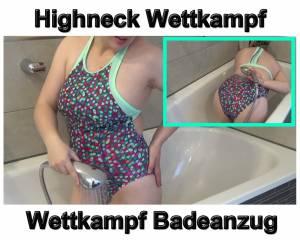 Highneck Wettkampf Badeanzug nass gemacht
