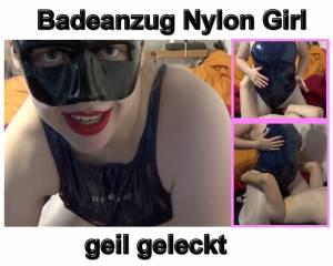 Badeanzug Nylon Girl geil geleckt