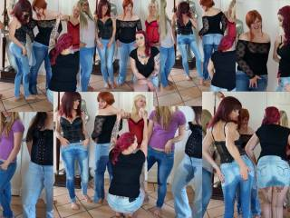 5 Girls pissen in ihre Jeans!