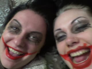 Two Crazy Clown Girls Dangle You Above Their Hungry Mouths Befor
