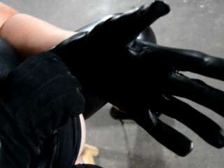 Leather gloves and pussy masturbation